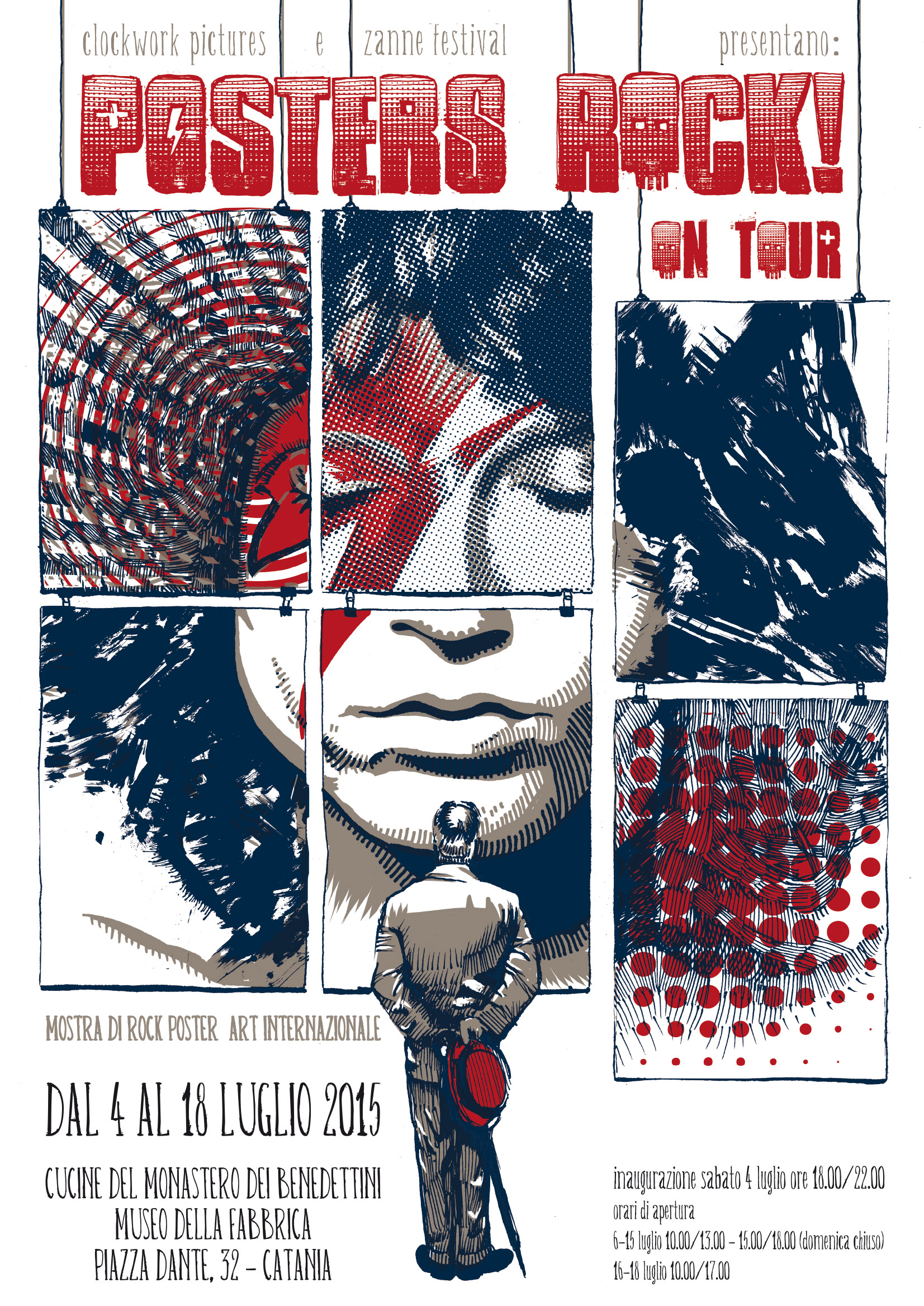 the abundant exhibition of important serigraphs dedicated to rock music will be open from monday to saturday and entry is free of charge